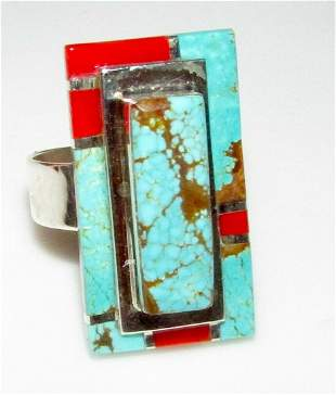 Navajo Number 8 Turquoise Coral Ring Sz 9 Sterling L.