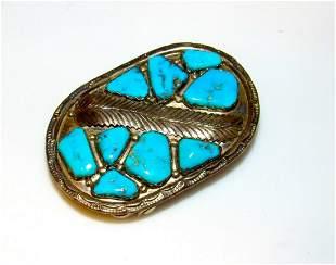 Old Pawn Vintage ZUNI Turquoise Sterling Silver Belt