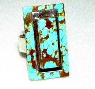 Navajo Number 8 Turquoise Ring Size 7.5 Sterling by L.