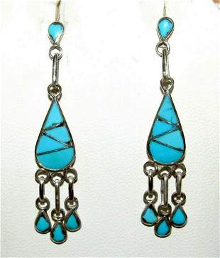Zuni Turquoise Inlay Dangle Earrings Sterling Silver