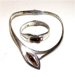 Mexican Taxco MOD Sterling Tiger Eye Necklace Bracelet