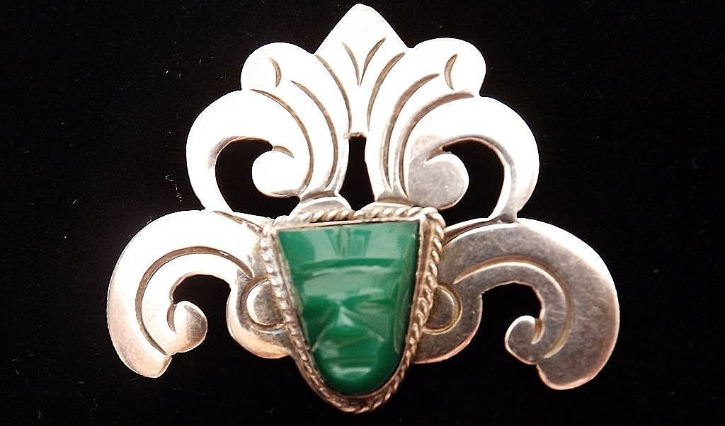 Vintage Mexican Sterling Silver Aztec Mask Brooch