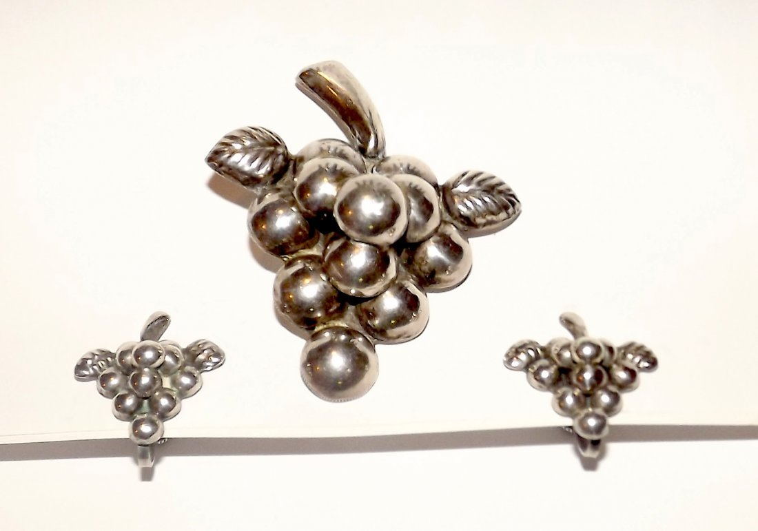 Sterling Silver Mexico Grape Earrings and Brooch