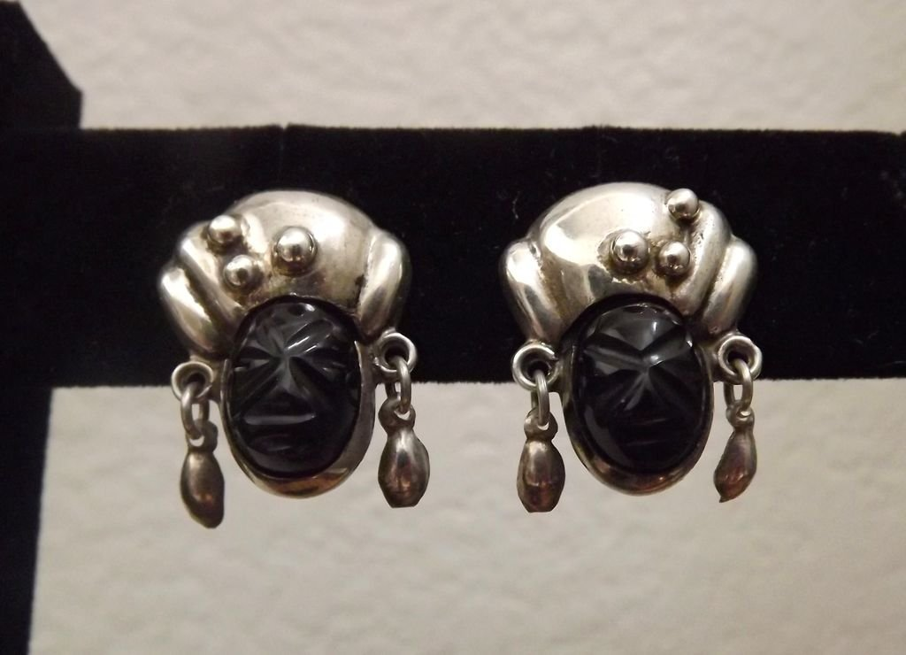 Mexican Sterling Silver and Carved Onyx Face Earrings