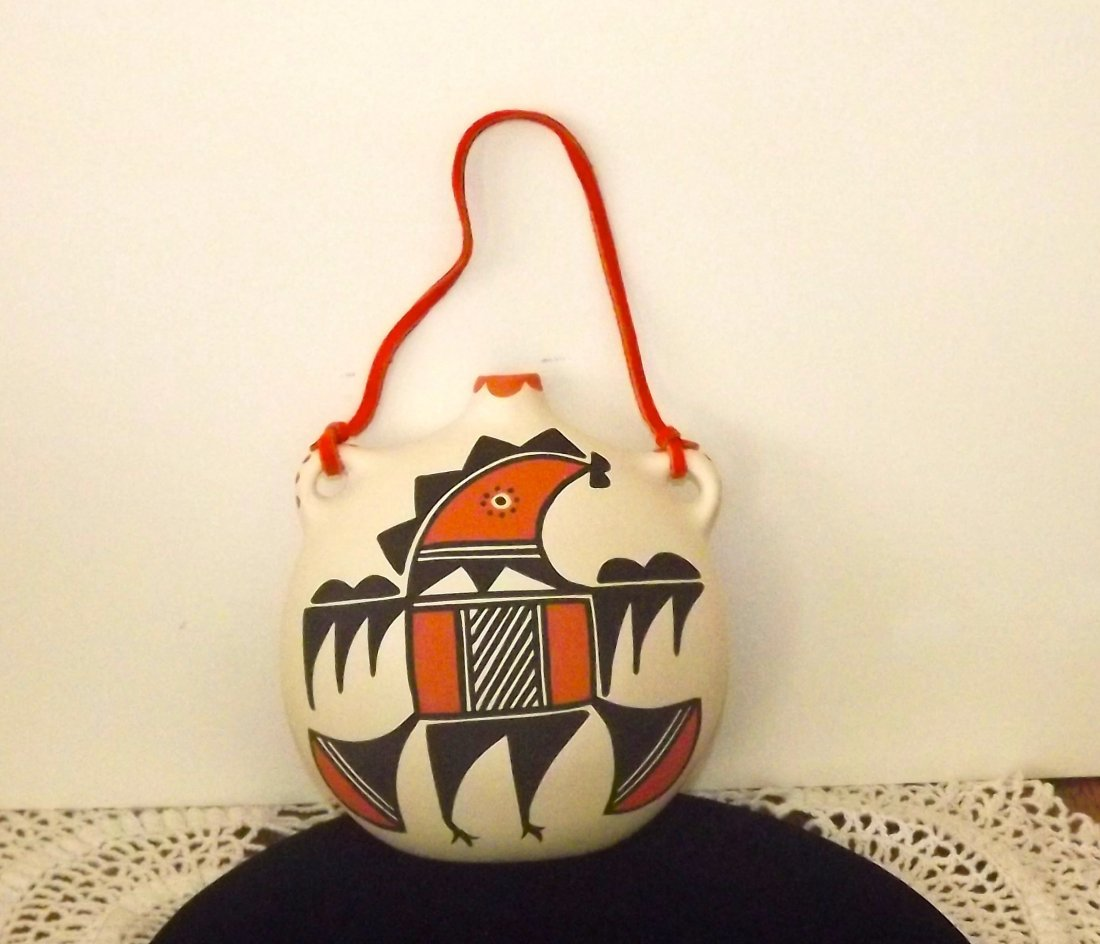 NATIVE AMERICAN ACOMA POTTERY CANTEEN/FLASK