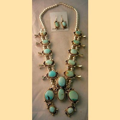 NAVAJO SQUASH BLOSSOM NECKLACE AND EARRINGS SET