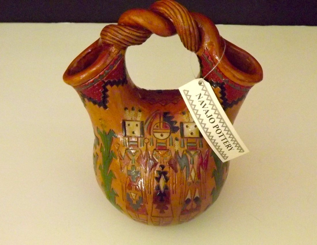 NAVAJO YEI Pottery/Wedding Vase by KEN AND IRENE WHITE.
