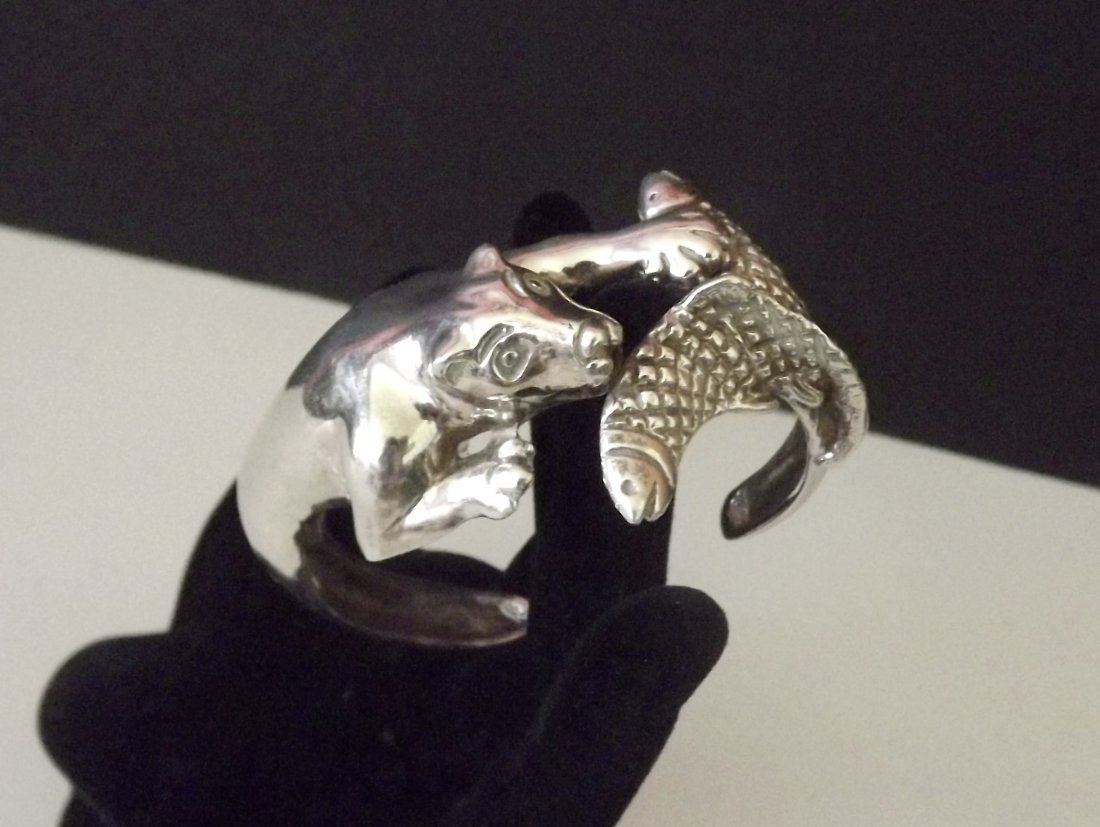 One of a Kind Mexican Sterling Silver Cougar Bracelet