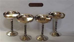 VINTAGE SILVER PLATED 4 PC WINE/CHAMPAGNE GLASSES
