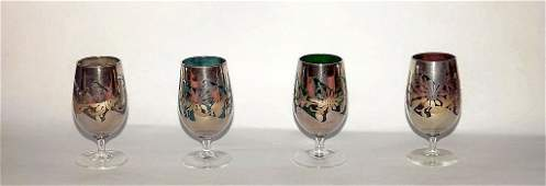 VINTAGE SILVER OVERLAY 4 PC COLORED GLASS STEM GLASSES