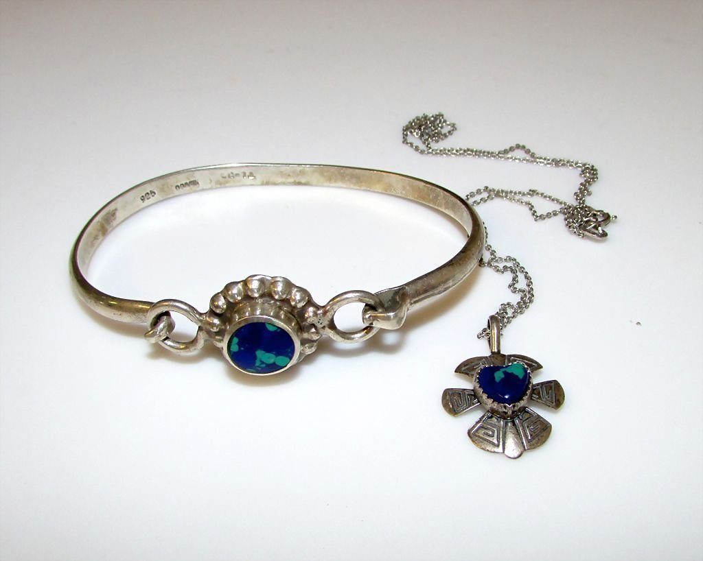 Sterling Silver Lapis Taxco Mexican Bracelet Necklcae