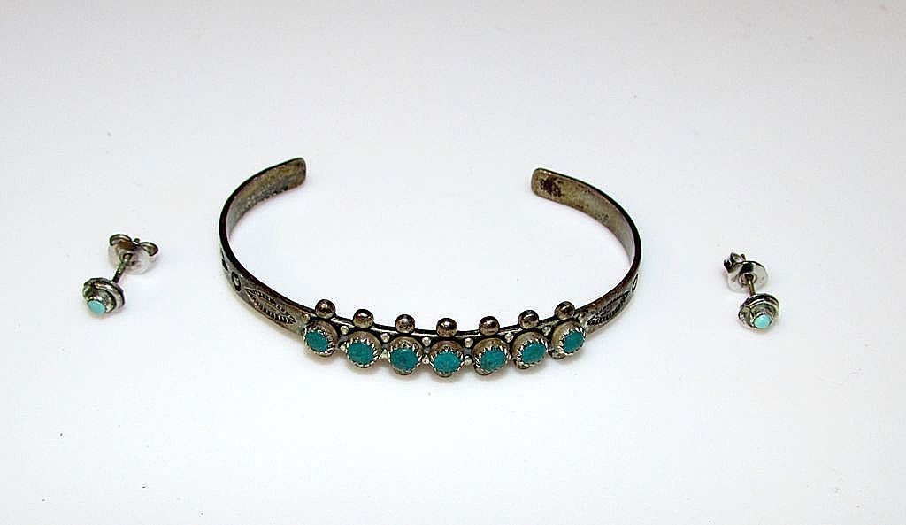 Navajo Old Pawn Child's Sterling Silver Turquoise Set