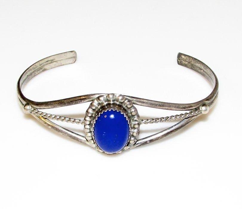 Native American Navajo Sterling Silver Lapis Bracelet