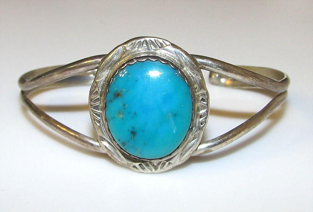 Navajo Sterling Silver Bisbee Turquoise Cuff Bracelet