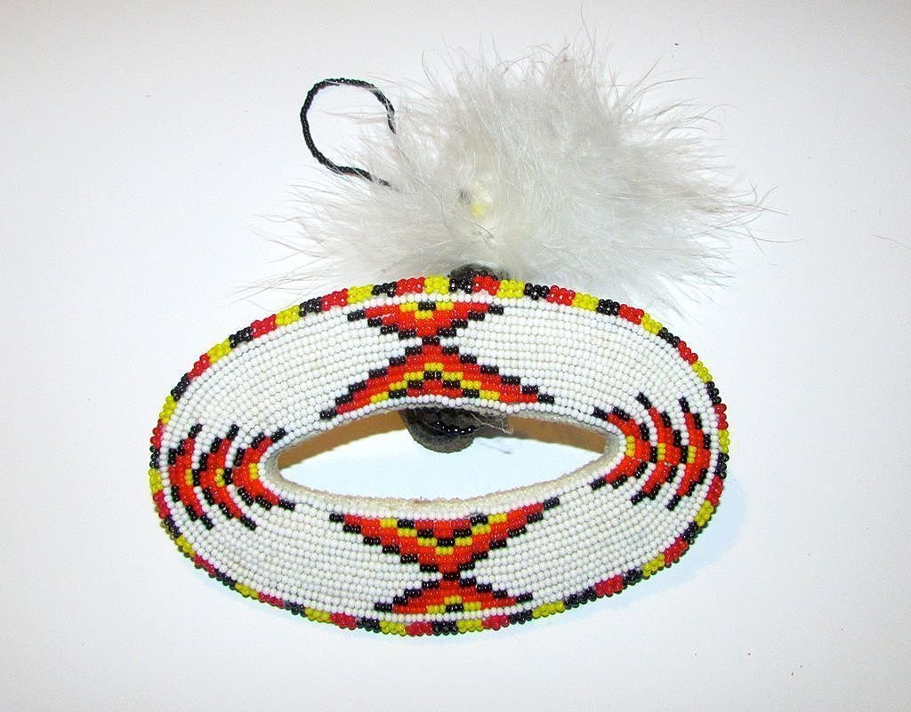 Old Pawn Native American Larger Beaded Hair Barrette