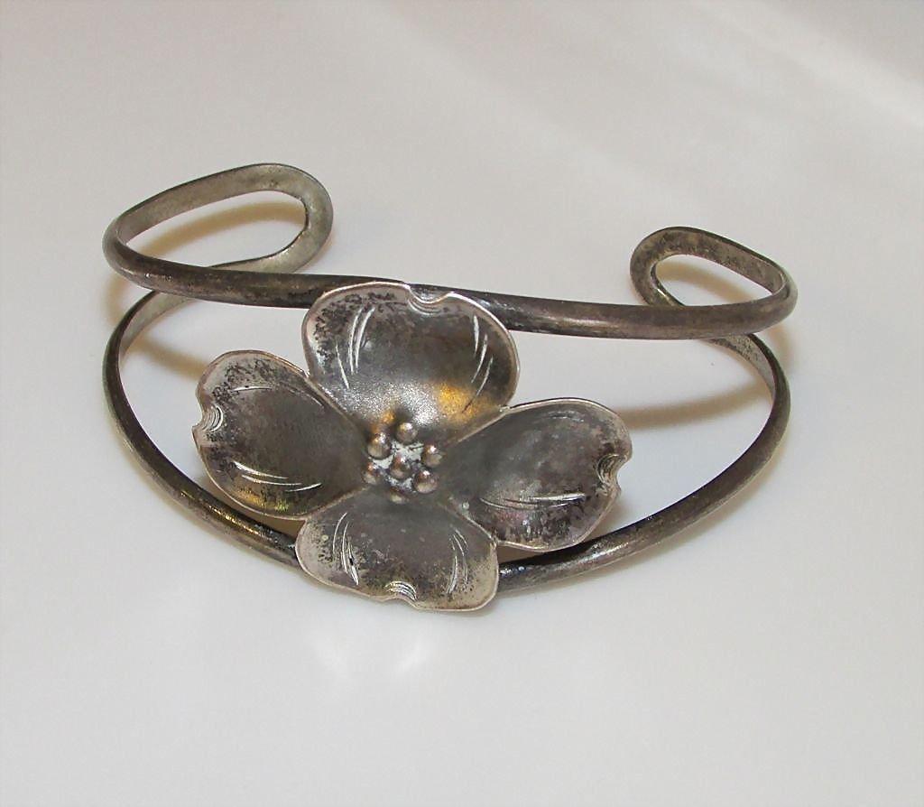 Vintage Native American Navajo Flower Cuff Bracelet