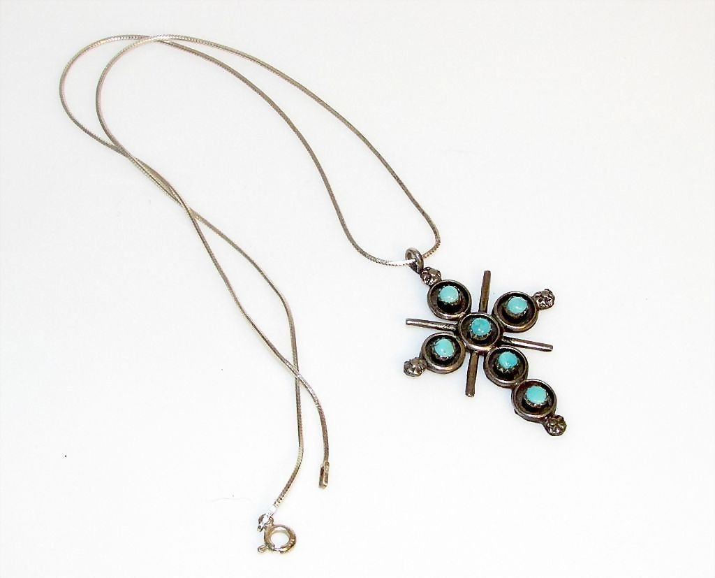 Native American Zuni Sterling Silver Turquoise Cross