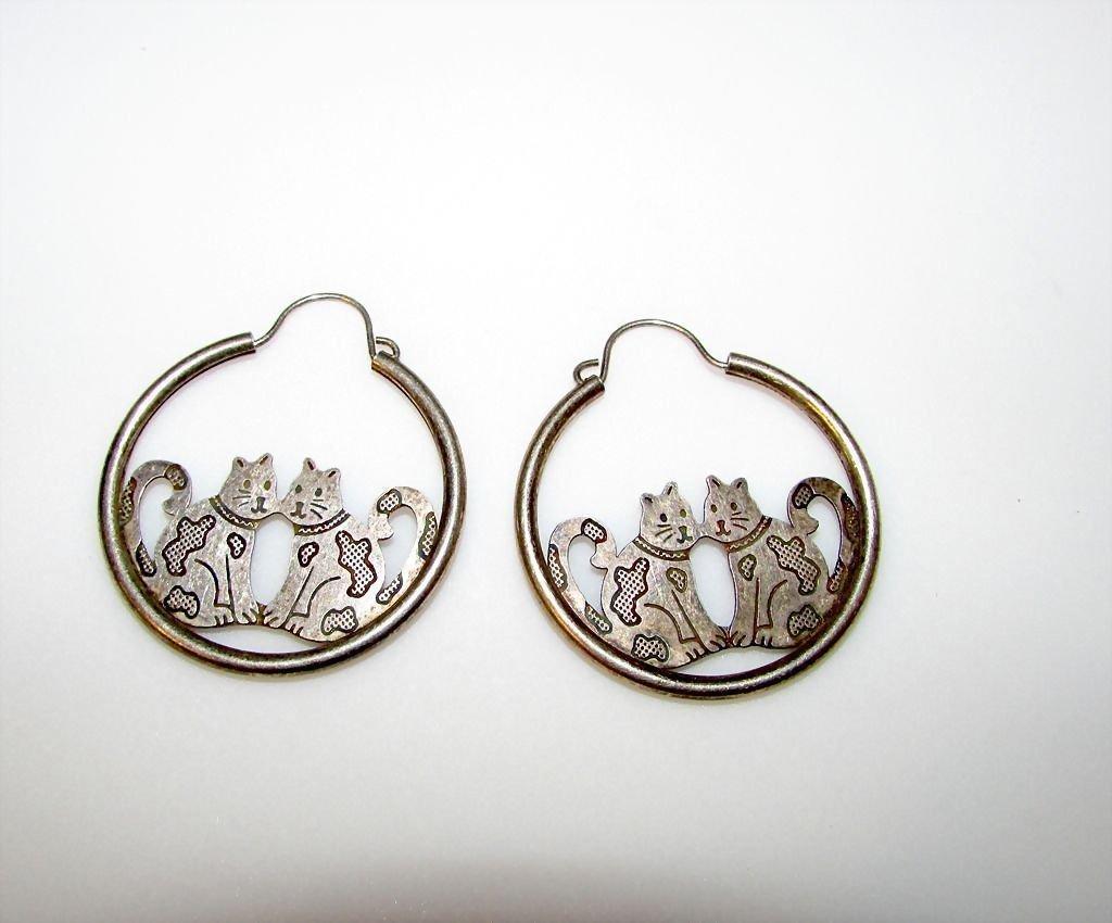 Sterling Silver Cats Pierced Hoop Earrings