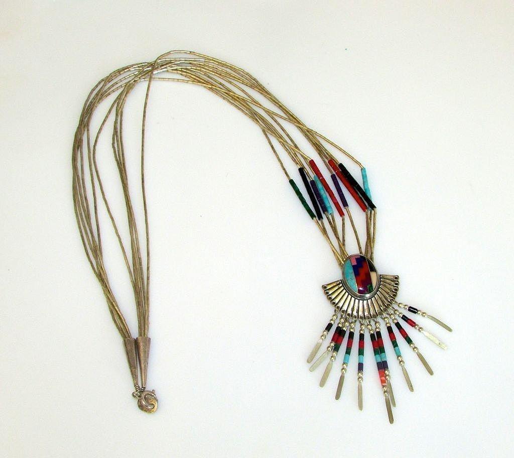 Native American Navajo Sterling Silver Fringe Necklace