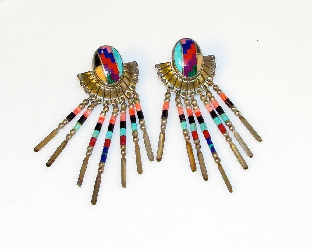 Native American Navajo Sterling Silver Fringe Earrings