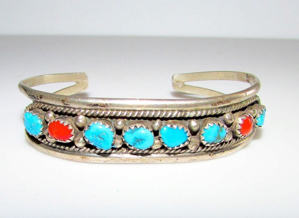 Navajo Old Pawn Sterling Turquoise Coral Bracelet