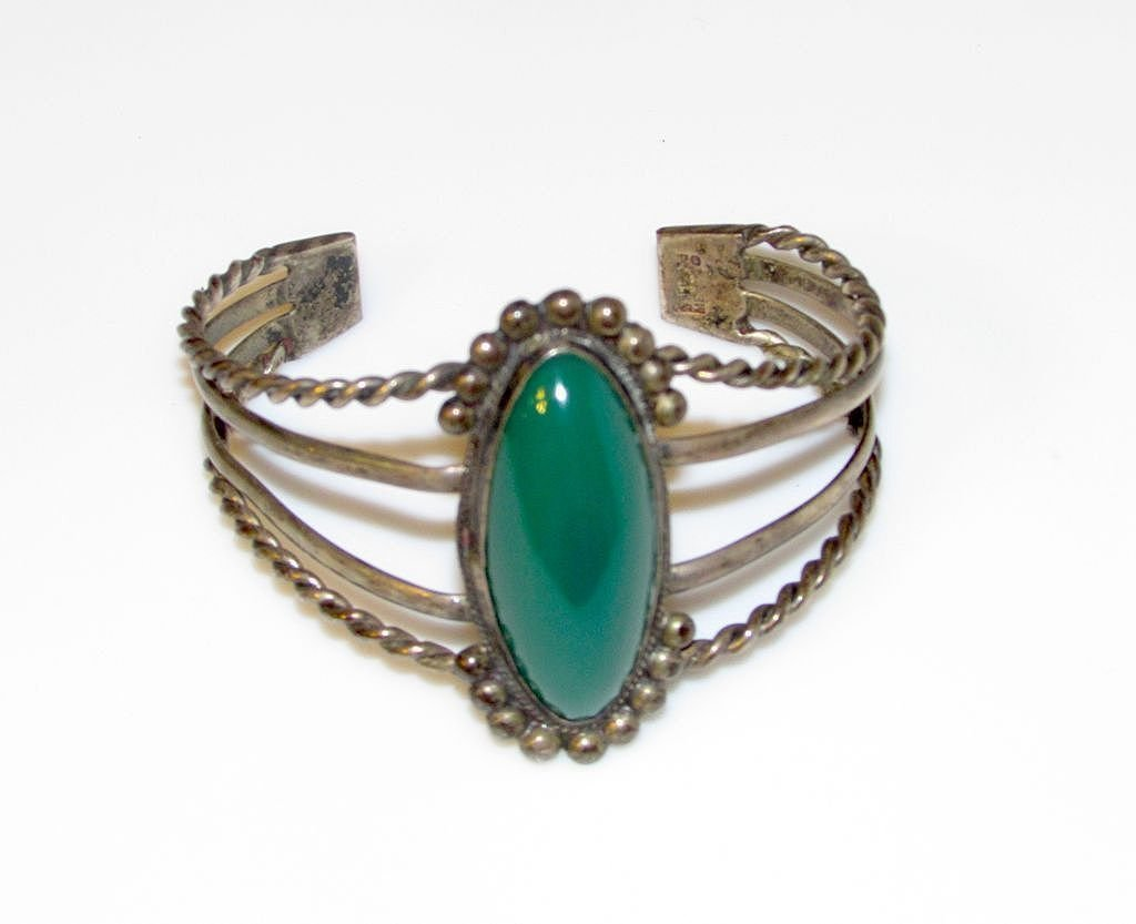 Taxco Mexican Sterling Silver Green Agate Cuff Bracelet