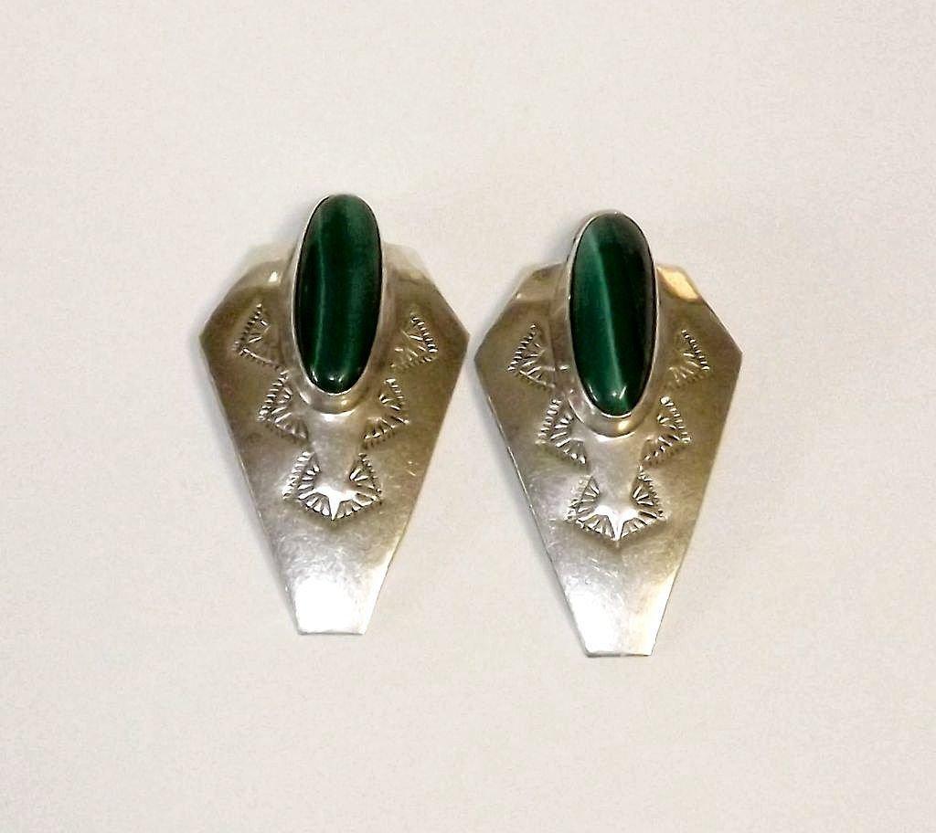 Navajo Sterling Silver Malachite Earrings