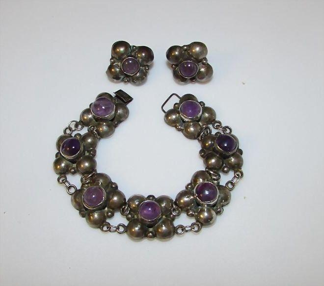 Taxco Sterling Silver Amethyst Bracelet Earrings Set