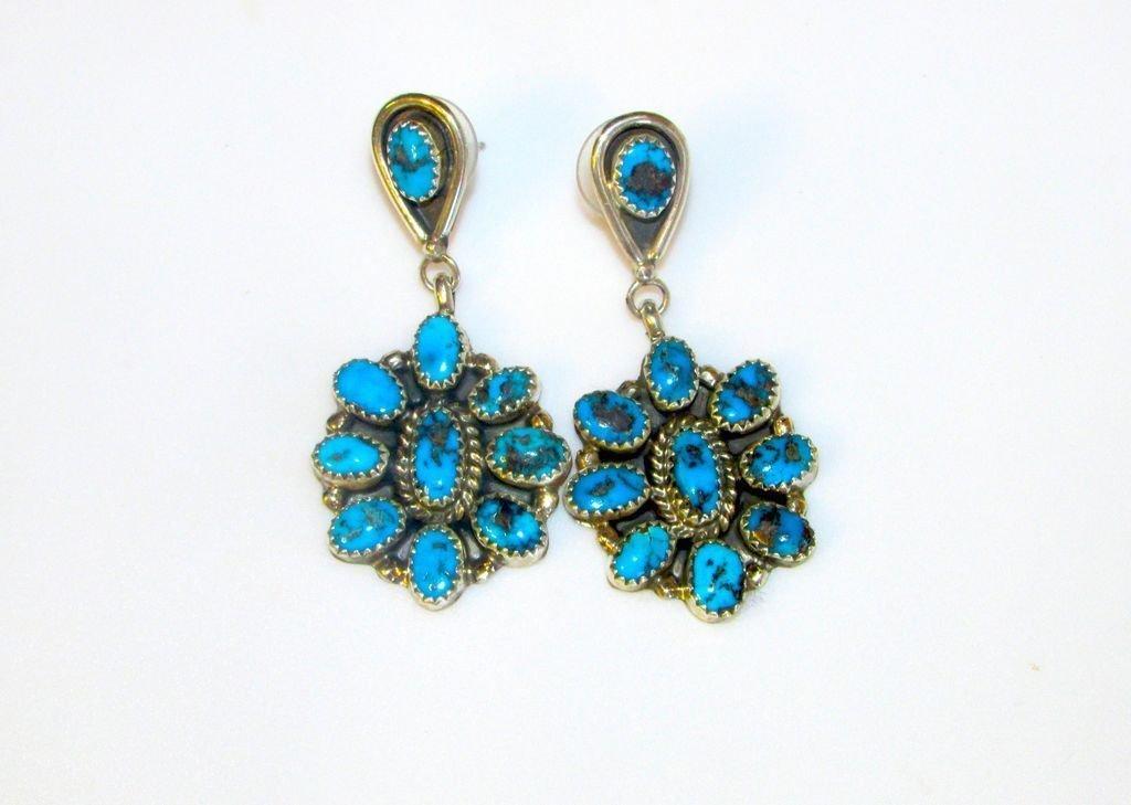 Navajo Sterling Silver Turquoise Pierced Earrings