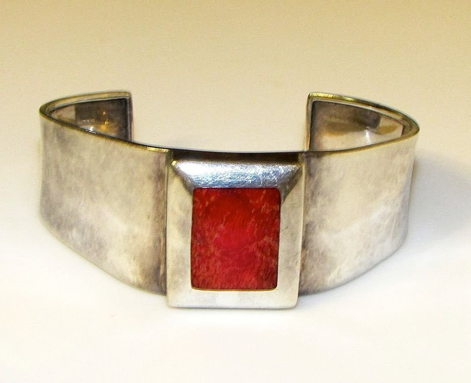 Sterling Silver Coral Cuff Bracelet