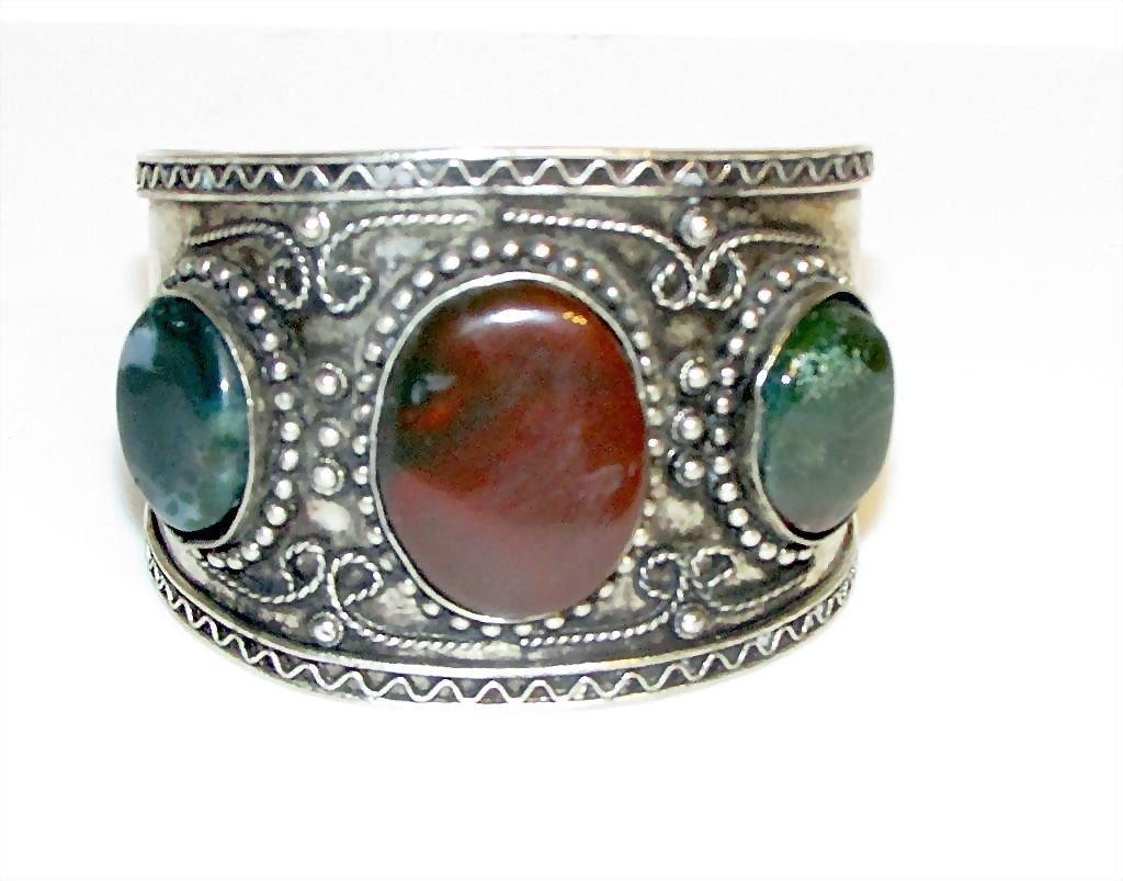 Bali Sterling Silver Red and Green Jasper Cuff Bracelet