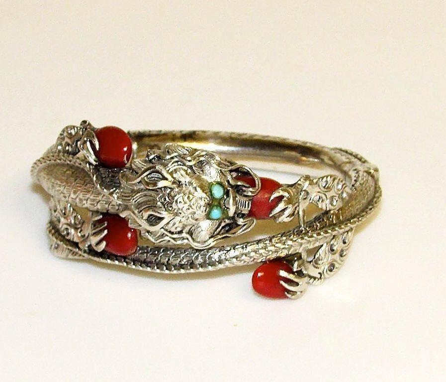 Silver Chinese Dragon Bangle Bracelet