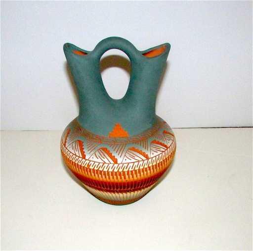 Vintage Native American Navajo Wedding Vase Pottery