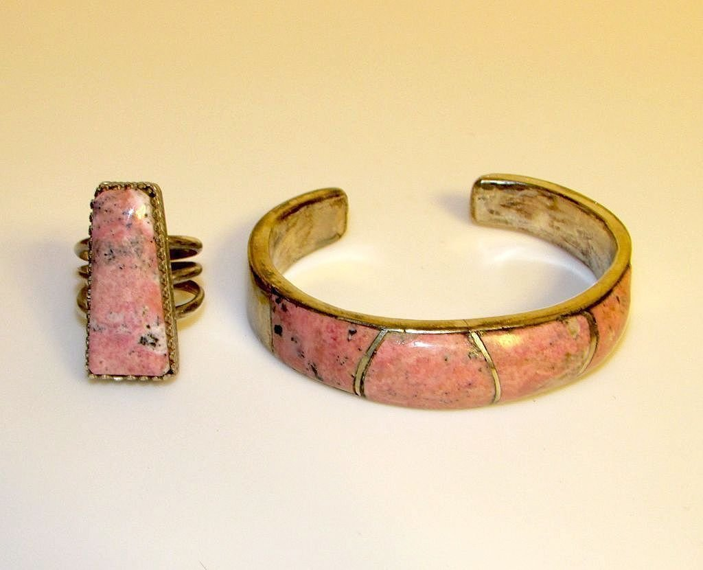 Old Pawn Zuni Sterling Pink Agate Inlay Bracelet & Ring