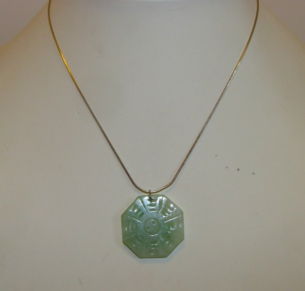 Vintage Green Jade Yin Yang Sterling Necklace