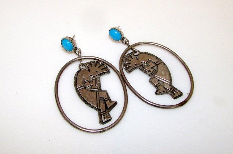 Navajo Sterling Silver Kokopelli Pierced Earrings