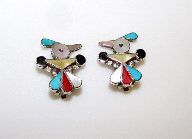 Old Pawn Native American Zuni Thunderbird Earrings