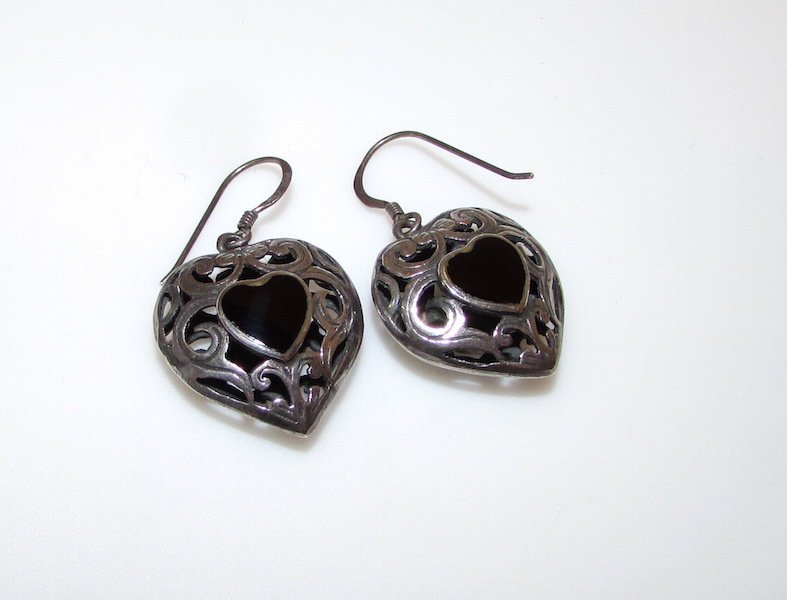 Vintage Filigree Sterling Silver Heart Earrings Onyx