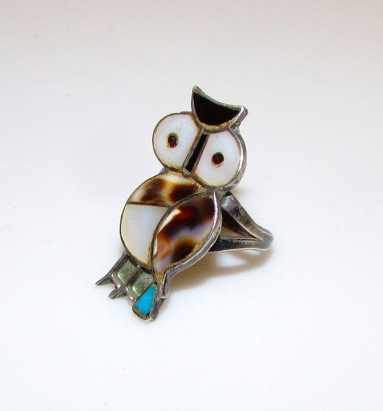 Old Pawn Zuni Sterling Silver Inlay Owl Ring