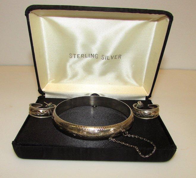Vintage Sterling 925 Bracelet Earrings Set