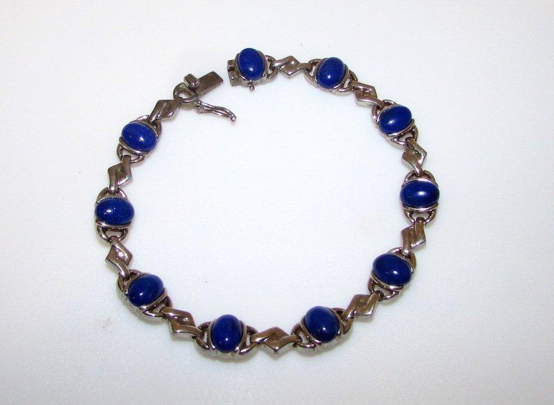 Vintage Sterling Silver 925 Lapis Bracelet