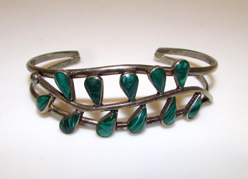 Mexican Taxco Sterling 925 Malachite Bracelet
