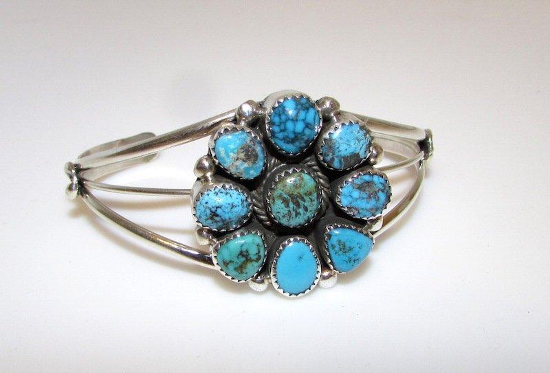 Navajo Sterling Silver Kingman Turquoise Bracelet