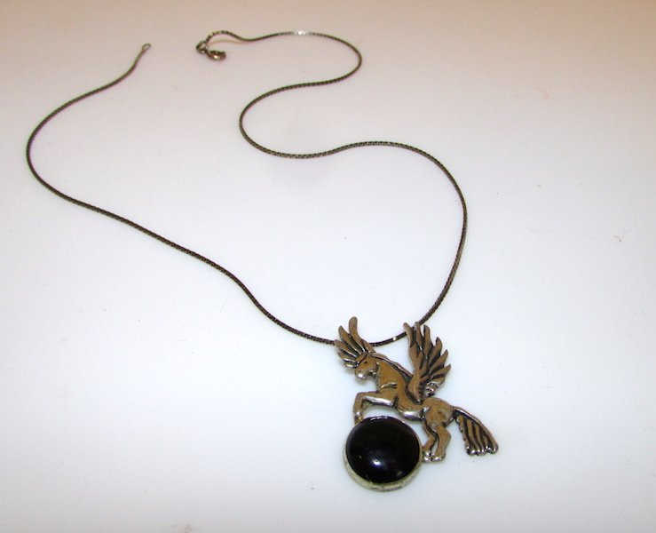 Mexican Taxco Pegasus Horse Necklace