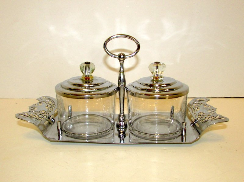 Vintage Farber Brothers NY Silver Plated Jar Set