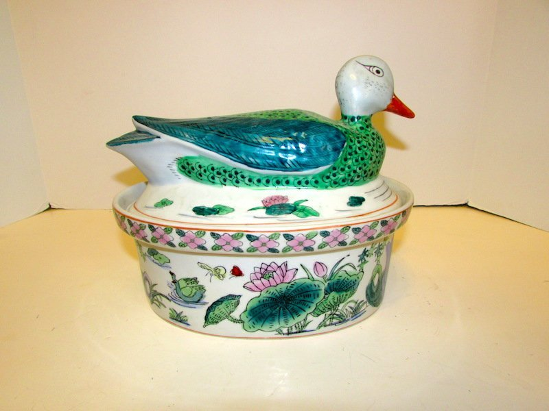Vintage Chinese Asian Porcelain Duck Dish