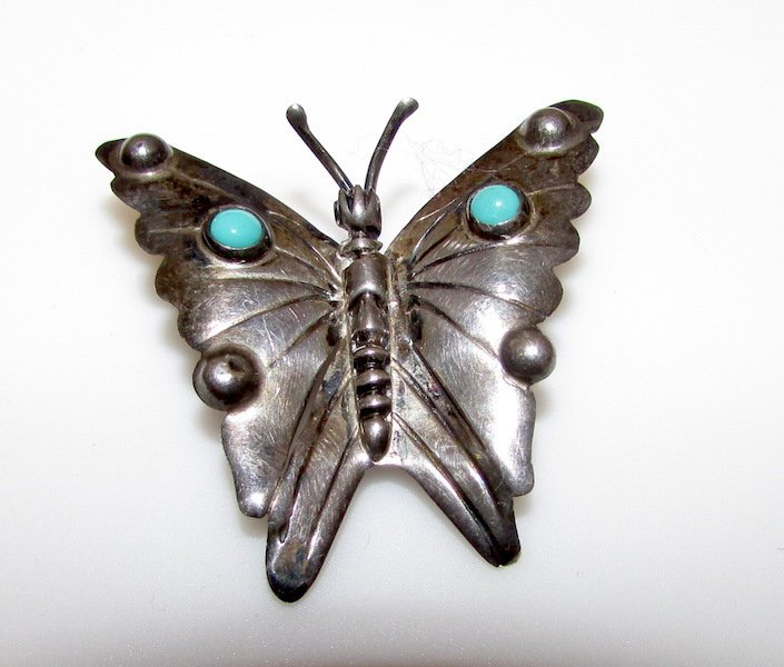 Vintage Mexican Sterling Turquoise Pre Eagle Brooch
