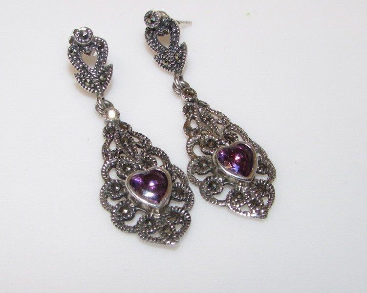 Sterling Silver Marcasites Amethyst Earrings
