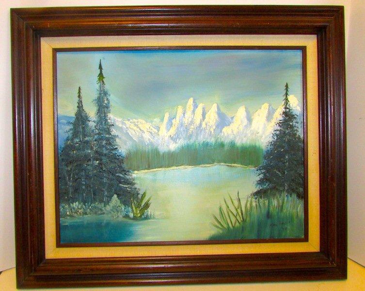 Original Vintage Acrylyc on Canvas Landscape Art