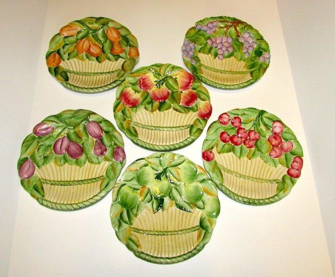 Vintage Italian Majolica Fruit Plates